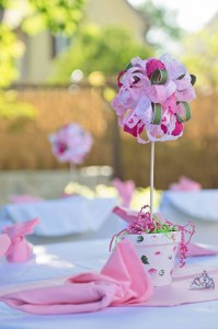 Custom handmade centerpieces; photo by Laura Cole Photography
